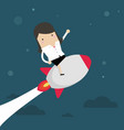 startup business businesswoman on a rocket vector image