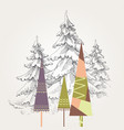 stylized christmas trees vector image vector image