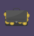 suitcase with euro coins vector image vector image