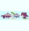 summer houses bungalows on sea beach vector image