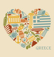 symbols of greece in the form of heart vector image vector image