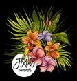 vintage floral tropical greeting card vector image