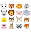 set of cartoon animal faces on white baby animals vector image