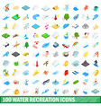 100 water recreation icons set isometric 3d style vector image vector image