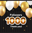 1000 followers thank you background for social vector image vector image