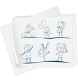 A paper with a sketch of kids playing vector image vector image