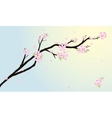 Background with stylized cherry blossom and bird