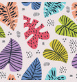 banana and monstera leaves seamless pattern vector image