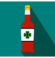Beer bottle with a clover on the label flat icon vector image vector image