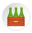 Beer bottles in a wooden box icon cartoon style vector image vector image