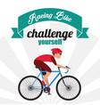 bike racing male cartoon challenge yourself icon vector image vector image