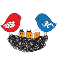 bird and nest with chicks vector image