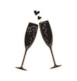 black silhouette two sparkling glasses vector image vector image