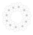 cosmos flower outline wreath vector image vector image