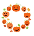 Cute pumpkins frame for halloween vector image vector image