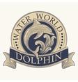 Dolphin Retro Label vector image