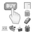 e-commerce purchase and sale monochrome icons in vector image