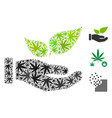 eco startup hand collage of hemp leaves vector image