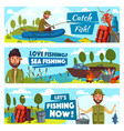 fisherman and big fish catch vector image vector image