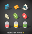 Flat Isometric Icons Set 15 vector image vector image