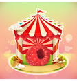 Fruit jam poster raspberries sweets emblem vector image