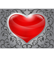 Glossy red heart with pattern on steel background vector image vector image