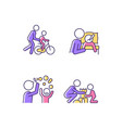 good parenting rgb color icons set vector image vector image