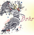 h hand drawn bird with flowers and butterflies vector image vector image