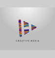 h letter logo play media concept design perfect vector image vector image