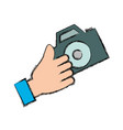 hand with camera vector image vector image