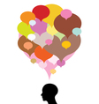 head silhouette with thought bubbles vector image