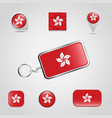 hong kong country flag on keychain and map pin vector image vector image