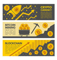 horizontal banners with bitcoin vector image vector image