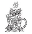 kawaii cute raccoon in a cup coloring vector image