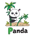 Little panda on bamboo for ABC Alphabet P vector image vector image