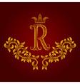 Patterned golden letter R monogram in vintage vector image vector image