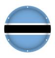 round metallic flag of botswana with screw holes vector image vector image