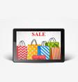 sale with smartphone and colorful shopping bags vector image