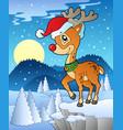scene with christmas deer 1 vector image vector image