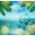 sea with island and palm trees vector image vector image
