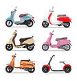 set colorful moped in flat style side view vector image vector image