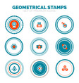 set of abstract geometrical round stamps vector image vector image