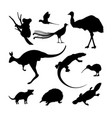 set of black silhouettes of australian animals vector image vector image