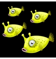 Set of four green fish on a black background vector image vector image