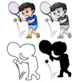 set tennis player vector image