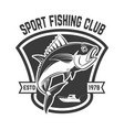 sport fishing club emblem template with tuna fish vector image
