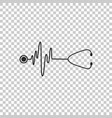 stethoscope with a heart beat icon isolated vector image vector image