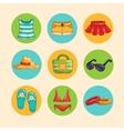 summer girls accessorise icons set vector image