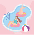 summer time girls in pool with floats and ball vector image