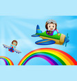 two air plane flying over rainbow vector image vector image